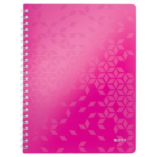 Spirálfüzet LEITZ Wow A/4 80 lapos kockás rózsaszín