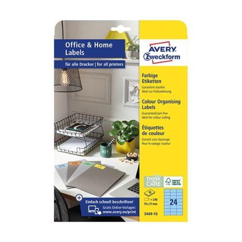 Etikett AVERY 3449-10 70x37mm univerzális kék 240 címke/doboz 10 ív/doboz