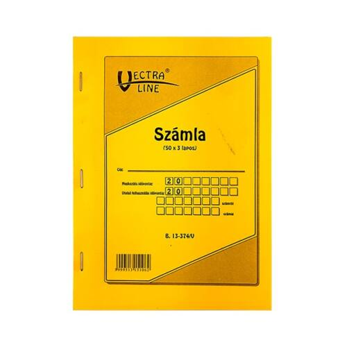 Nyomtatvány számlatömb VECTRA-LINE 50x3 álló 1 áfás A5