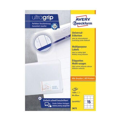 Etikett AVERY 3672 64x50 mm fehér univerzális 1500 címke/doboz 100 ív/doboz
