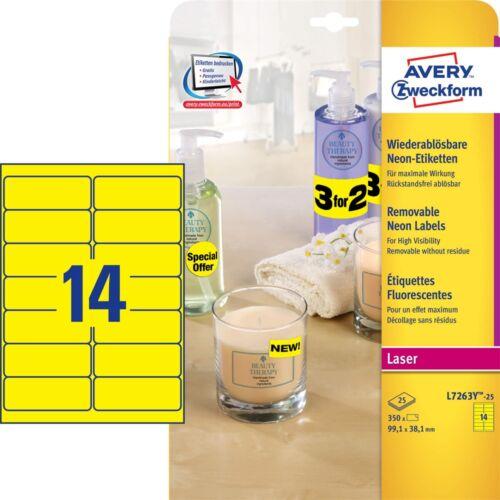Etikett AVERY L7263Y-25 99,1x38,1mm laser neon sárga 350 címke/doboz 25 ív/doboz