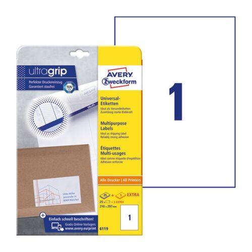 Etikett AVERY 6119 210x297mm univerzális  25 címke/doboz 25 ív/doboz