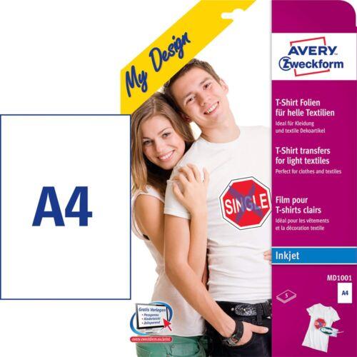 Textilre vasalható fólia AVERY MD1001 világos pólóra vasalható tintasugaras nyomtatóhoz 5 ív/csomag