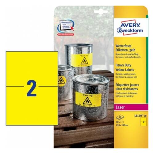Etikett AVERY L6130-20 210x148mm sárga időjárásálló 40 címke/doboz 20 ív/doboz